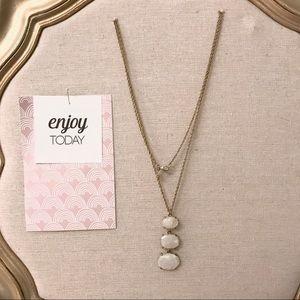 LOFT Long Gold 3 Stone Layering Necklace
